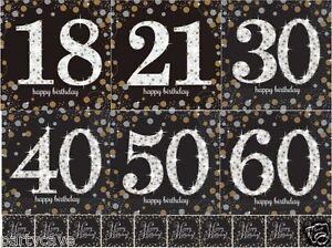 16 BLACK GOLD SILVER SPARKLE BIRTHDAY PARTY PAPER NAPKINS SERVIETTES TABLEWARE