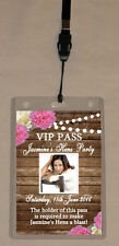 FLORAL RUSTIC PERSONALISED HENS NIGHT VIP PASS OR INVITATION LANYARD