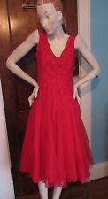 New listing Vtg 1950's Red Organdy Evening Dress Prom Full Skirt Lace Bodice