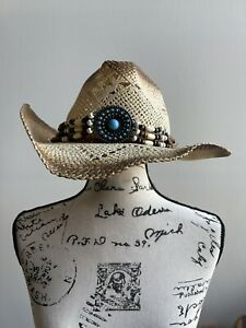 White Paper Woven Straw COWBOY HAT w/ Beads Band WOMEN WESTERN Cowgirl