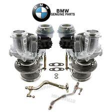 For BMW F01 F04 F10 F13 E70 E71 Set of 2 Turbochargers &Return Oil Lines Genuine