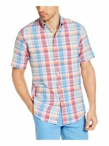 CLUBROOM Mens Red Plaid Collared Shirt S