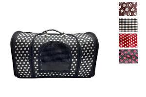 Trasportino cane gatto taglia media con rete borsa tracolla fantasia pieghevole