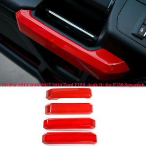Auto Inside Door Handle Decorative Cover Trim for Ford F150 2015-18 ABS 4pcs Red