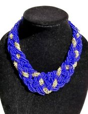 Braided Blue Collar Necklace Gold Metal Chain Chunky Multi-Strand Seed Bead Bib