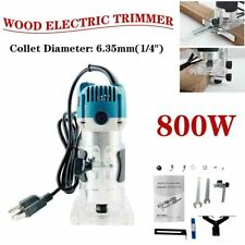 Electric Wood Trimmer Diy Laminator Palm Router Joiners Tool 800W 1/4'' Blue
