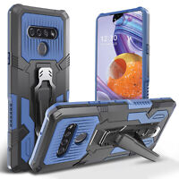 For LG Stylo 6 Shockproof Hybrid Rugged Armor Stand Case Cover + Tempered Glass