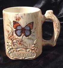 Treasure Craft New York Coffee/Tea Mug Butterfly Tree Bark Flowers 3D Figural