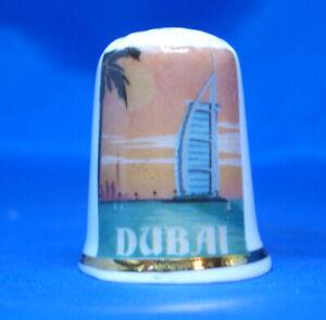 Birchcroft China Thimble -Travel Poster Series - Dubai - Free Dome Gift Box