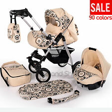 New Baby Pram With SWIVEL WHEELS Car Seat Carrycot Diaper Bag Mattress Pushchair
