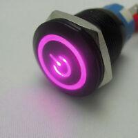 19mm 12V Auto KFZ Schalter Drucktaster Taster Druckschalter LED Beleuchtet Lila