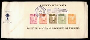 DR WHO 1962 DOMINICAN REPUBLIC FDC ANTI MALARIA CACHET S/S  f94881