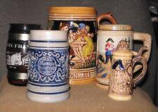 *Vintage Lot of 5 Beer Mugs & Steins & Pepper shaker, Souvenir, 1/2 Gallon