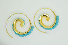 OttomanGems semi precious gem stone gold plated swirl earrings Turquoise