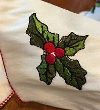 French Wire Edged Ribbon Embroidered Holly Birds Holiday~Wreath~Gift~Bow