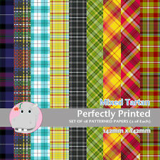 18 Patterned Paper Sq 140mm -Perfectly Printed Craft Paper - Mixed Tartan