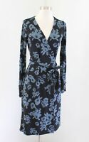 Ann Taylor Womens Black Blue Floral Print Long Sleeve Wrap Dress Size 2 Tie