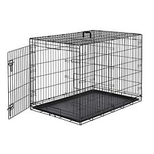 """42"""" Single-Door Folding Metal Dog Pet Crate Kennel Tray & Divider Small bend"""