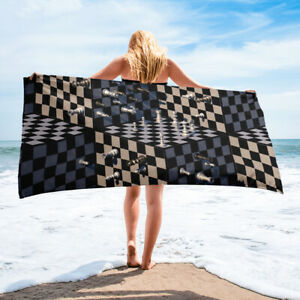 Chess Game Themed Black and White Bath or Beach Towel Gift Idea