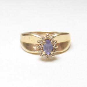 ASH Estate 14K Yellow Gold 0.25 Ct Natural Purple Tanzanite Diamond Halo Ring