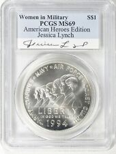 1994-W WOMEN IN MILITARY SILVER $1 PCGS MS69 JESSICA LYNCH AUTOGRAPH