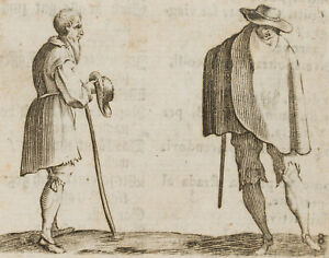 Nach Jacques CALLOT (*1592 Nancy-1635), Grüßender Bauer, c. 1622, Rad.