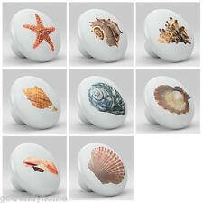 Set of 8 Sea Shell Design Ceramic Knobs Pull Kitchen Drawer Cabinet Bar 618