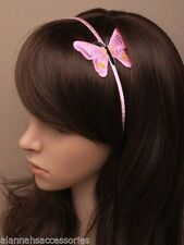 RIBBON WRAPPED NARROW HEADBAND ALICE BAND WITH LARGE EMBROIDED BUTTERFLY