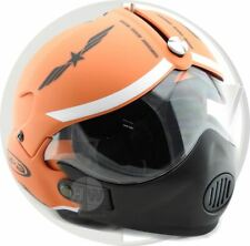 OPEN FACE SCOOTER HELMET OSBE GPA AIRCRAFT TORNADO ORANGE ARMY S 55-56 cm + MASK