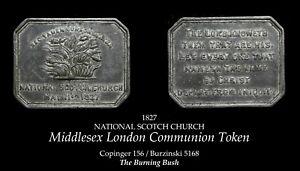 1827 Middlesex London Communion Token B5168 - Burning Bush