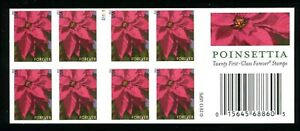 5816d Poinsettia 20 Stamps Forever Booklet IMPERF