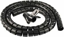 Cable Organizer Coiled Tube Sleeve Cable Cable Management Sleeve (Black 5FT)