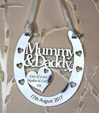 Personalised Mummy & Daddy Goodluck Wedding Horseshoe Anniversary FREE GIFT BAG