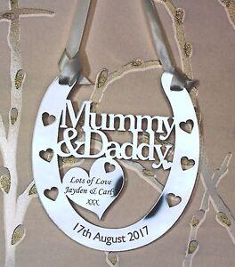 Personalised Mummy & Daddy Goodluck Wedding Horseshoe Anniversary FREE GIFT BAG