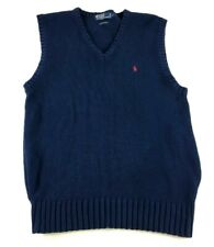 Polo Ralph Lauren Mens Blue Sleeveless Sweater Vest Size Large