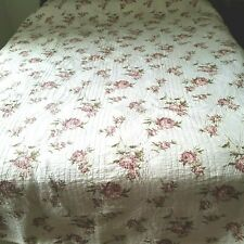 "Vintage Quilt Full or Queen 86 x 86"" 2 Shams Red Roses on White Scalloped Good"