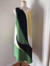 NWT Alfani Green, Black, Yellow & White Print Shift Dress Size 18