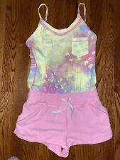 IVIVVA By Lululemon Camp Hardly Wait Girls Short Romper Pink Tie Dye Size 10 EUC