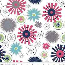 RILEY BLAKE DESIGNS BLUE GREEN AND CORAL FLOWERS ON WHITE COTTON FABRIC BTY