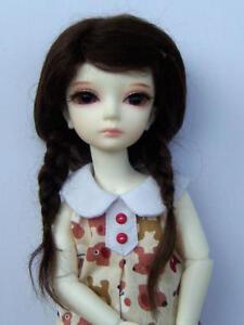 "Brown 5-6"" Mohair Lati Yellow BJD SD Mohair Pigtail Wig"