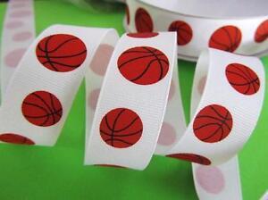 """5 yard OR 25 yard Spool/Roll Sports Grosgrain 7/8"""" Ribbon/craft R8-78-Basketball"""