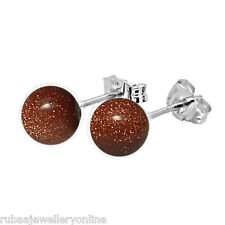 6mm COPPER / BROWN GOLDSTONE BEAD / BALL 925 STERLING SILVER STUD EARRINGS