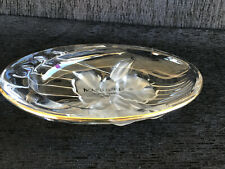 Home Beautiful Orchid Splendor Crystal Gold Trimmed Oval Candy Nut Dish Japan