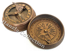 Rose London Vintage Pocket Sundial Antique Maritime Brass Compass With Time Zone