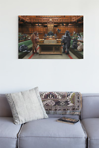 Monkeys & Gorillas in Parliament/ House of commons canvas framed print
