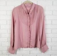 April Cornell Pintuck Swiss Dot Blouse Top 6 Mauve Dusty Pink