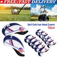 10PCS Golf Club Headcovers for Mizuno Iron Head Covers Caps 4-LW Blue&white
