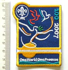 2007 World Scout Centenary Uniform Badge ONE WORLD ONE PROMISE 100 years Scouts