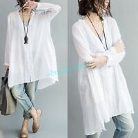 Women Cotton Linen Shirt Tops Long Sleeve Loose Baggy Casual Blouse Oversized