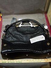 NEW JOY MANGANO Black Designer Drop Bag Expandable Faux Leather Purse Bag NWT